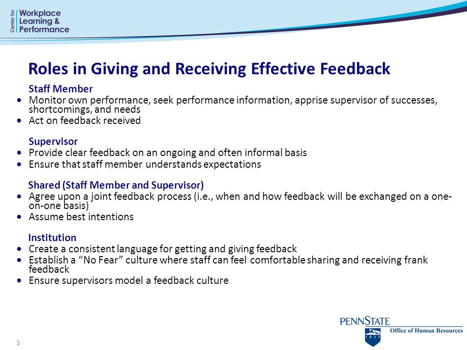 Roles in Giving and Receiving Effective Feedback