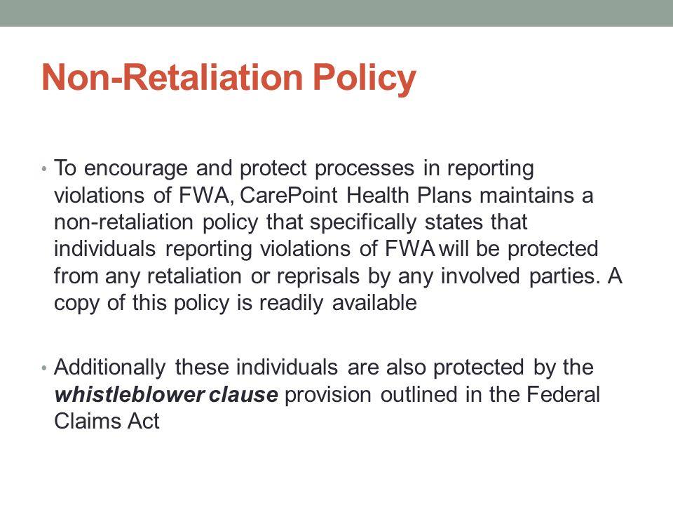 Non-Retaliation Policy