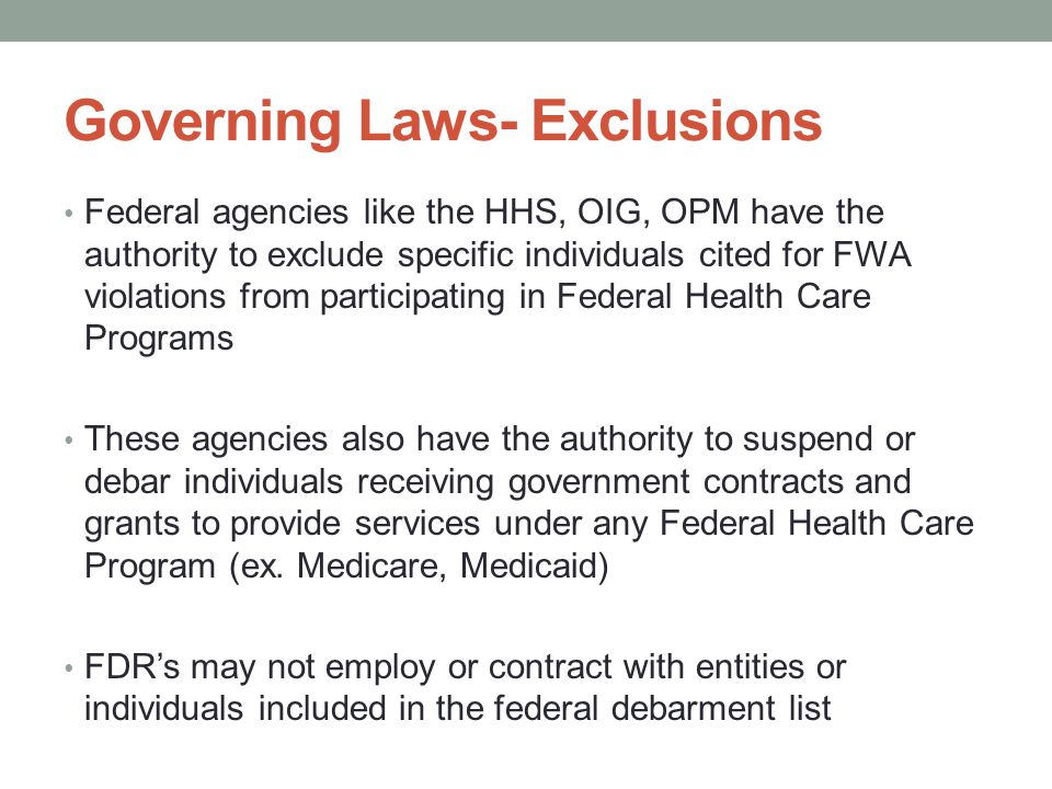 Governing Laws- Exclusions