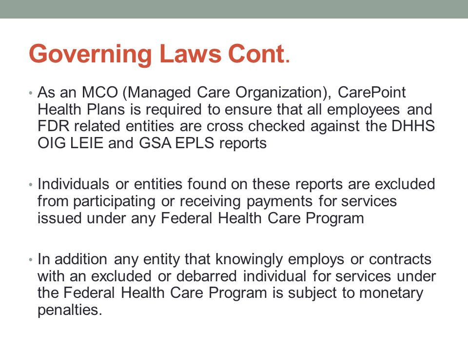 Governing Laws Cont.
