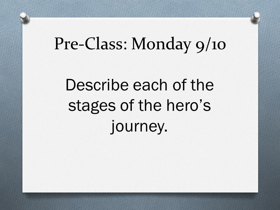 Describe each of the stages of the hero's journey.
