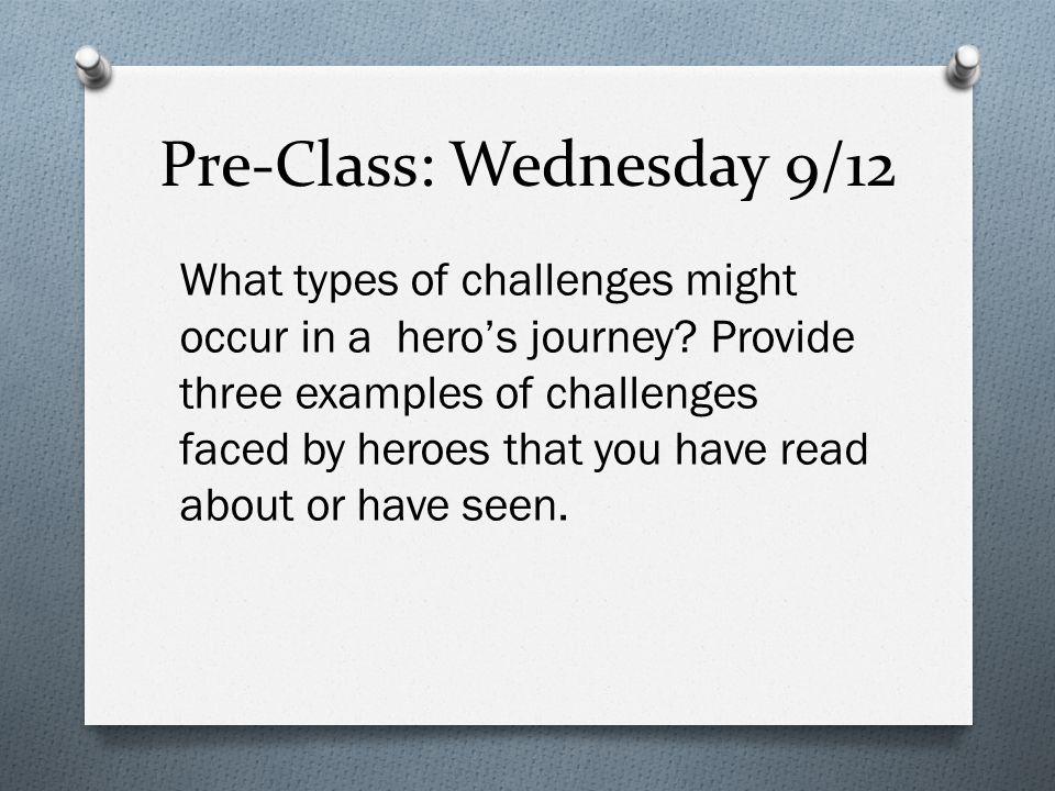 Pre-Class: Wednesday 9/12