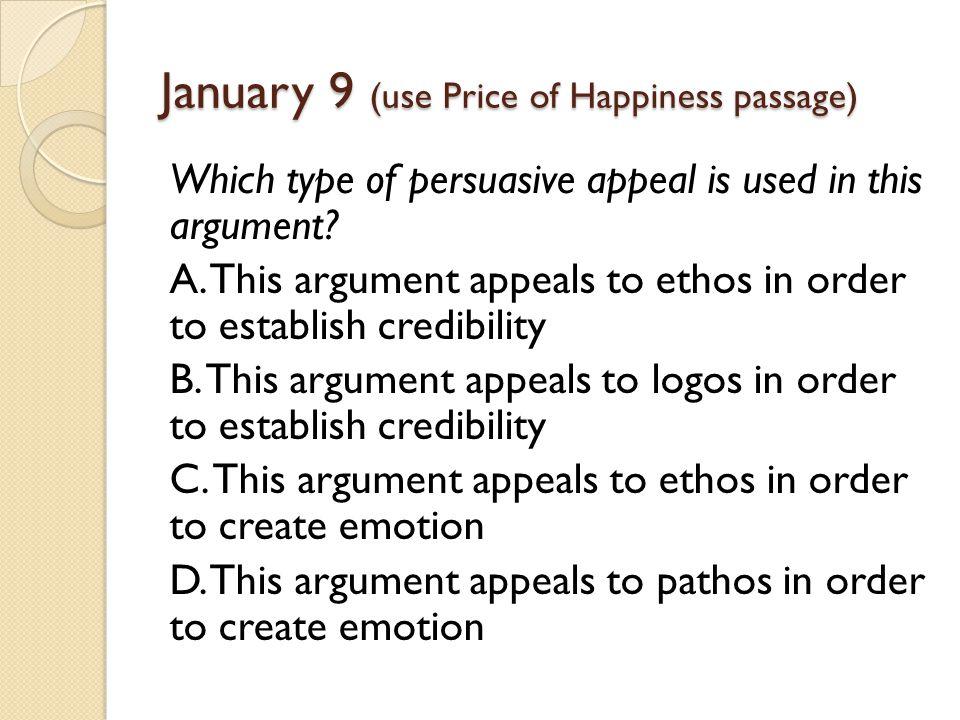 January 9 (use Price of Happiness passage)