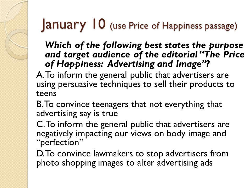 January 10 (use Price of Happiness passage)