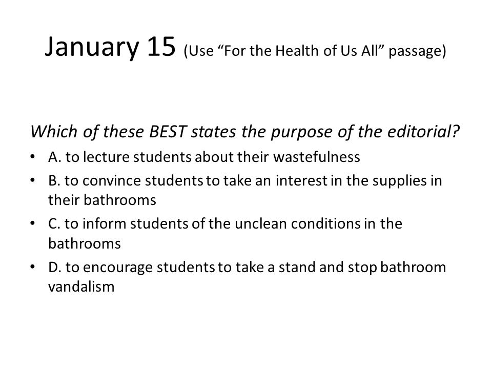 January 15 (Use For the Health of Us All passage)