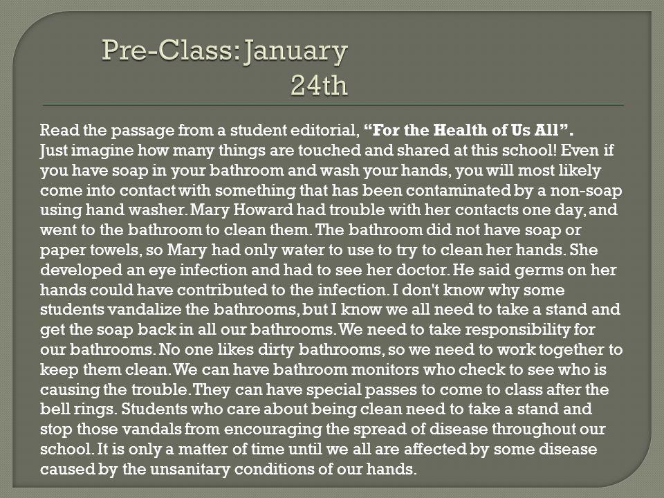 Pre-Class: January 24th