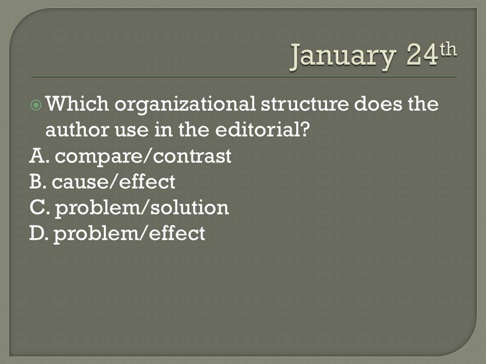 January 24th Which organizational structure does the author use in the editorial A. compare/contrast.
