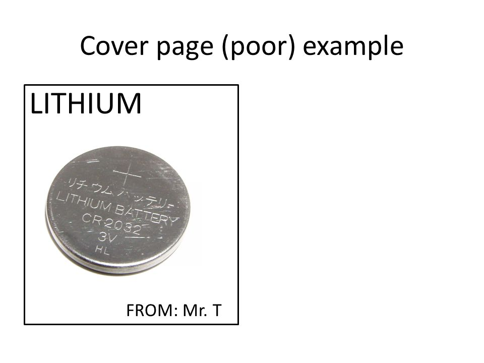 Cover page (poor) example