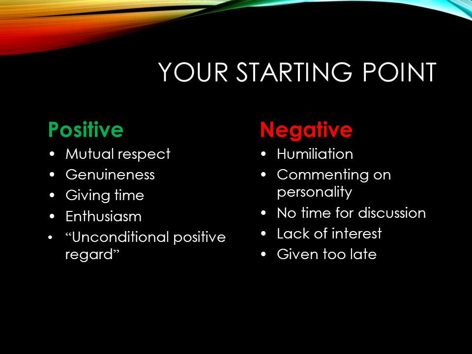 YOUR STARTING POINT Positive Negative Mutual respect Genuineness