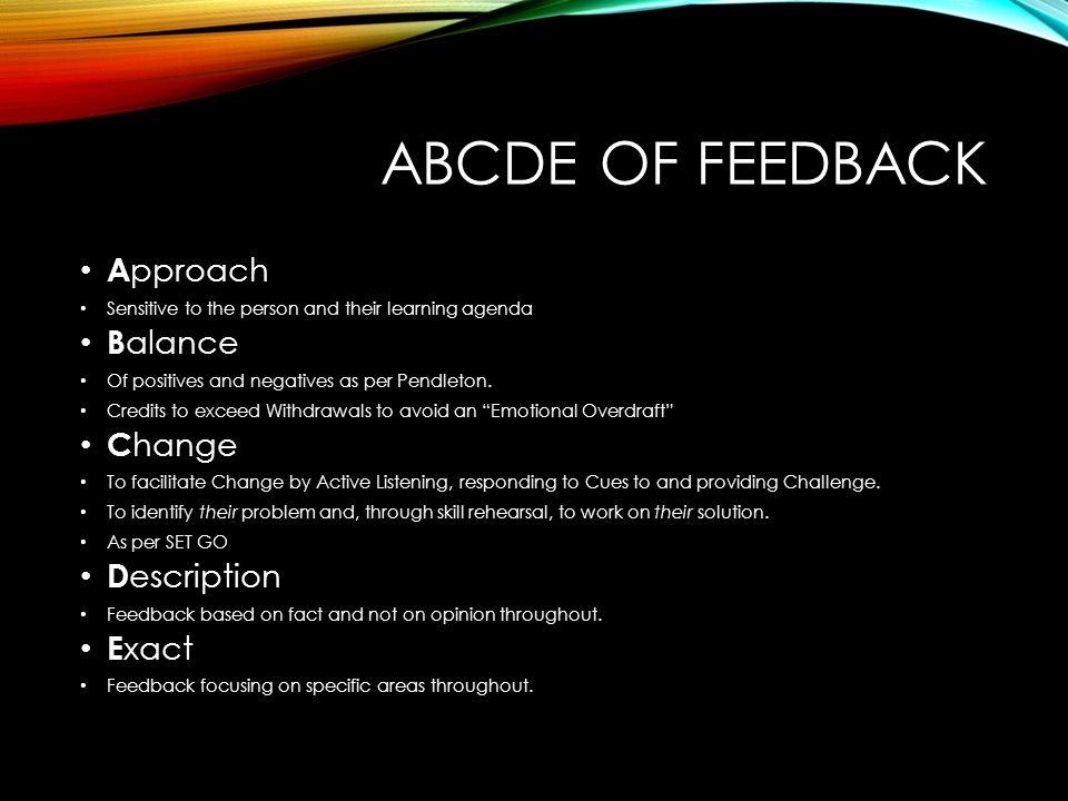 ABCDE of Feedback Approach Balance Change Description Exact