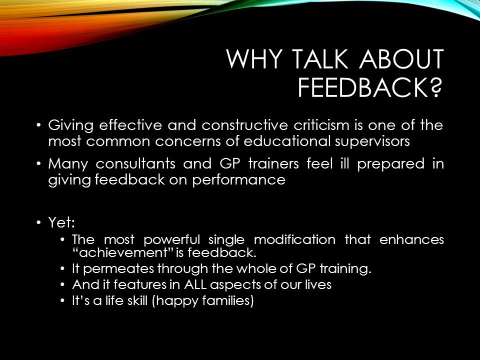 Why talk about feedback