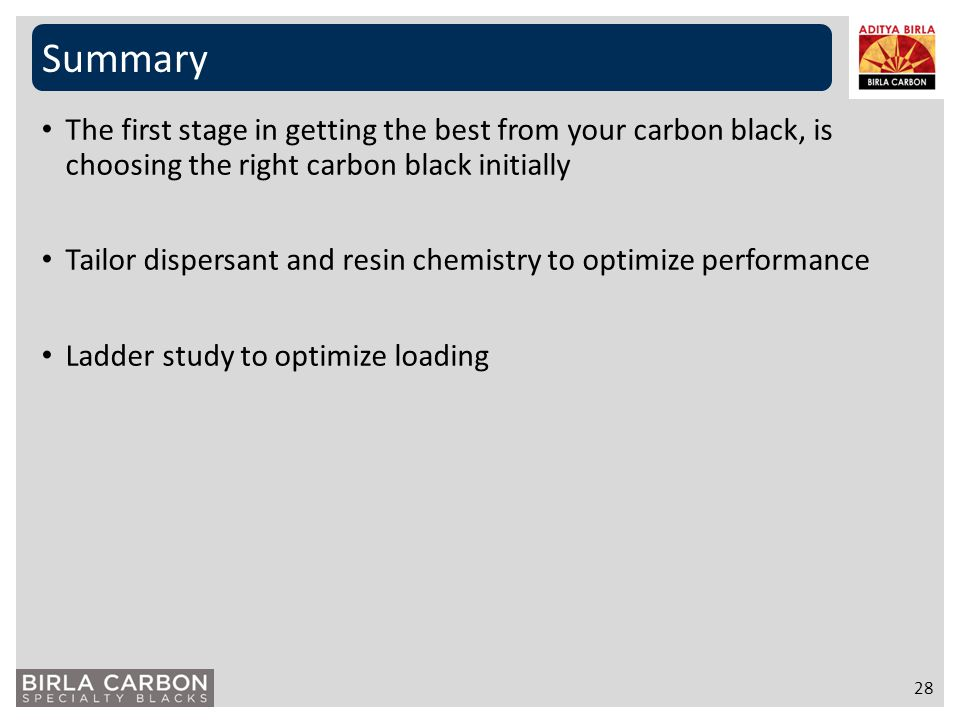 Summary The first stage in getting the best from your carbon black, is choosing the right carbon black initially.