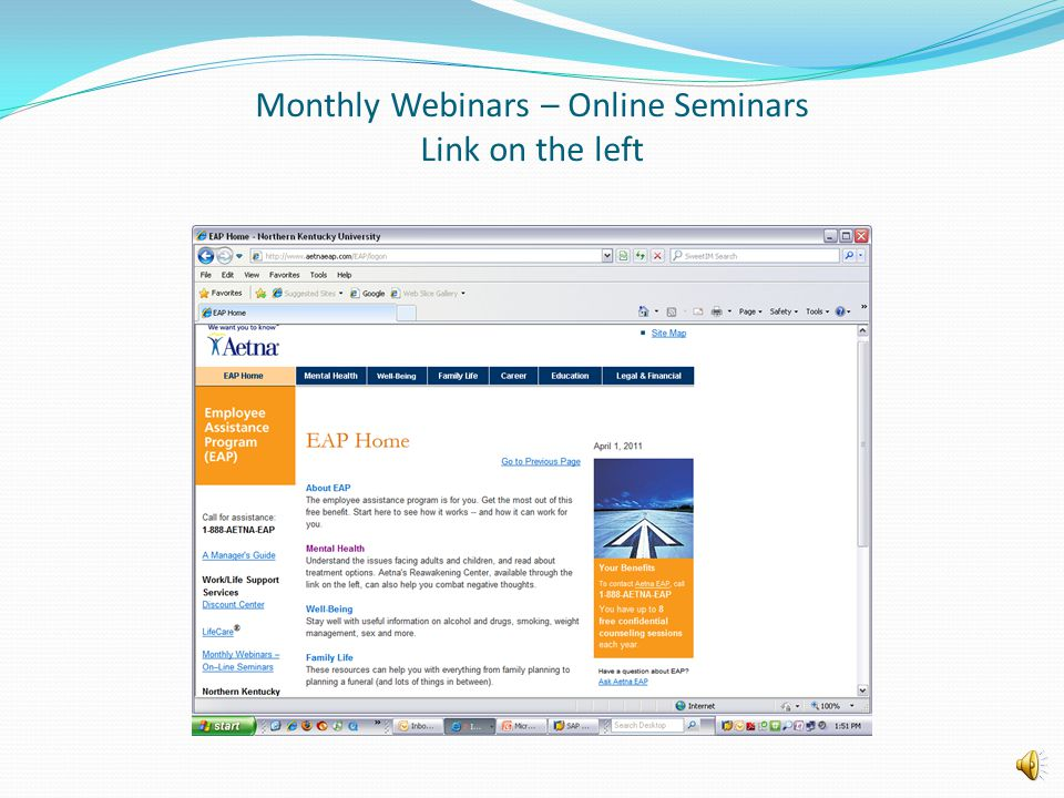 Monthly Webinars – Online Seminars Link on the left