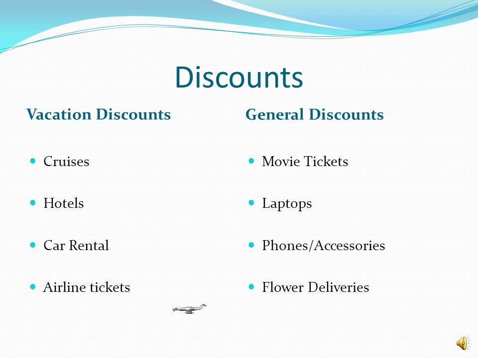 Discounts Vacation Discounts General Discounts Cruises Hotels