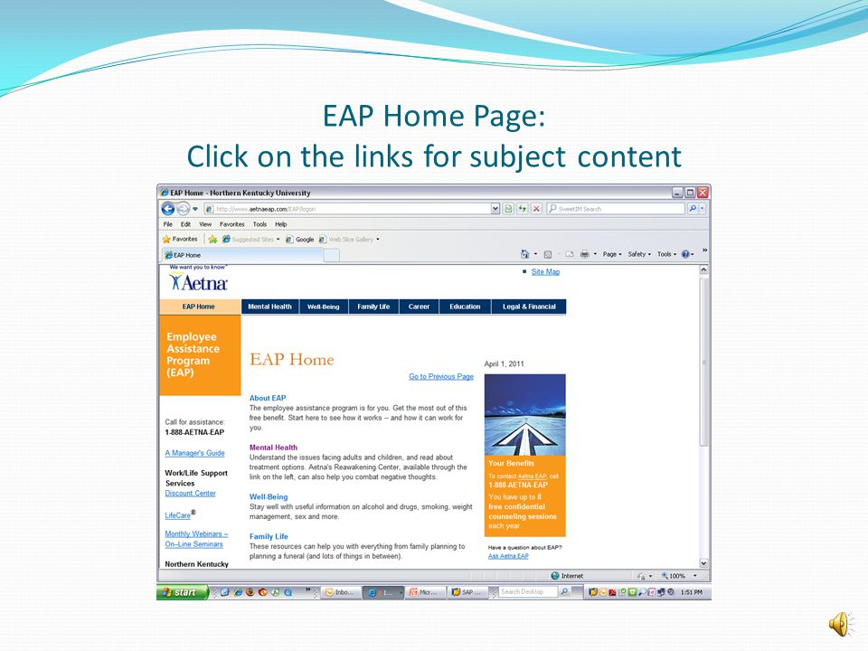 EAP Home Page: Click on the links for subject content