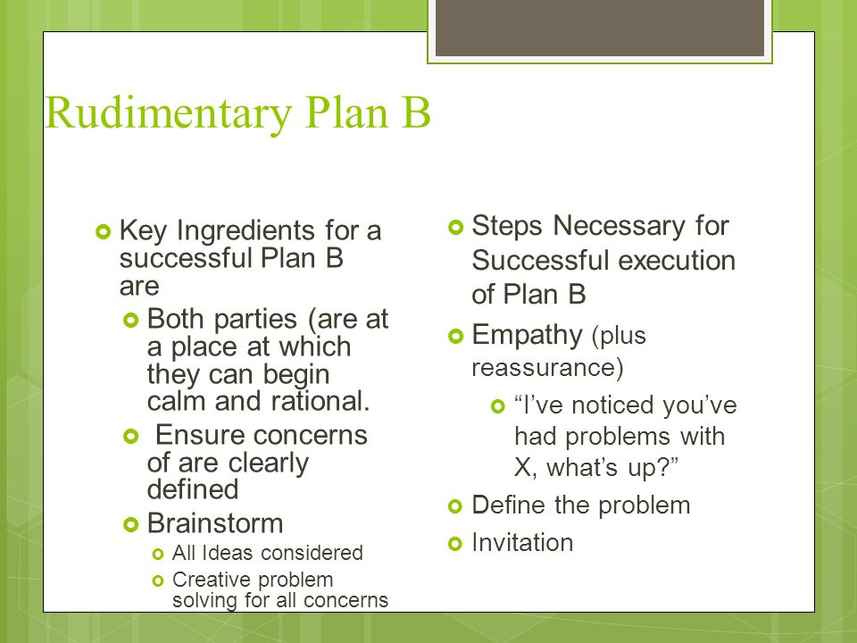 Rudimentary Plan B Steps Necessary for Successful execution of Plan B