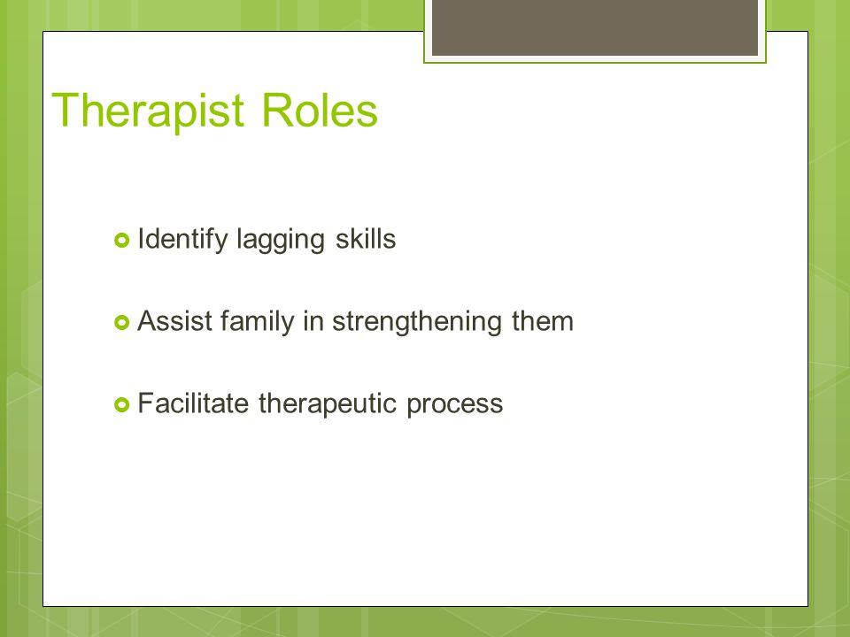 Therapist Roles Identify lagging skills