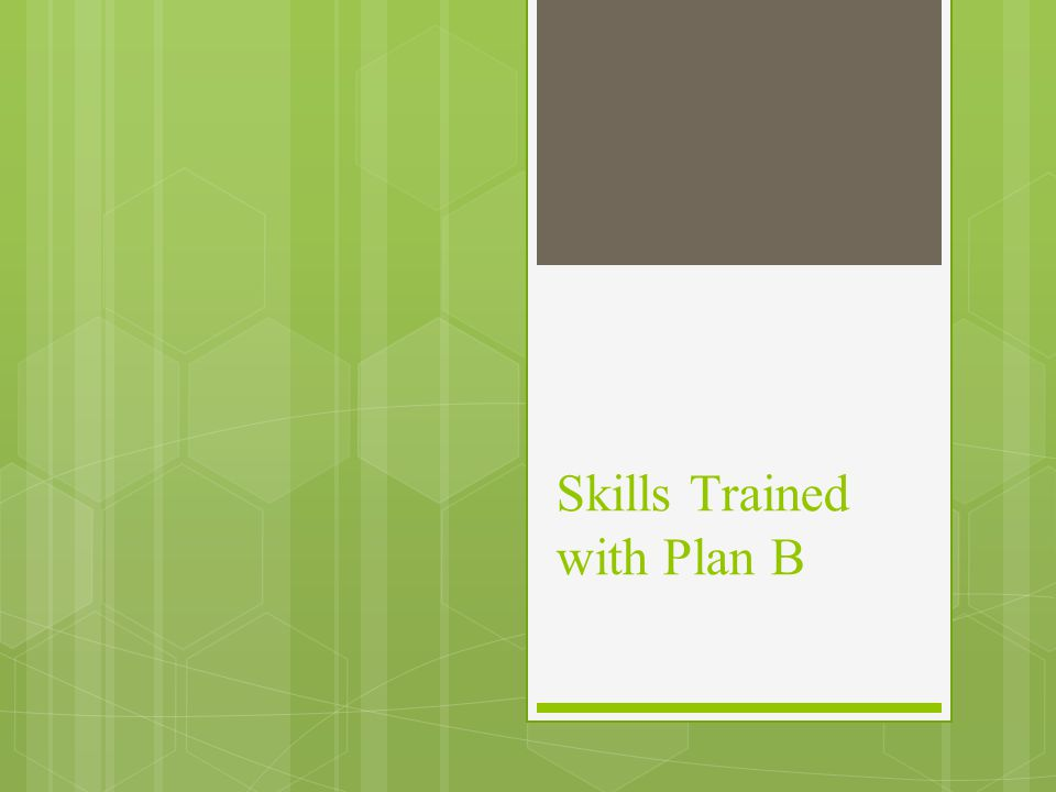 Skills Trained with Plan B
