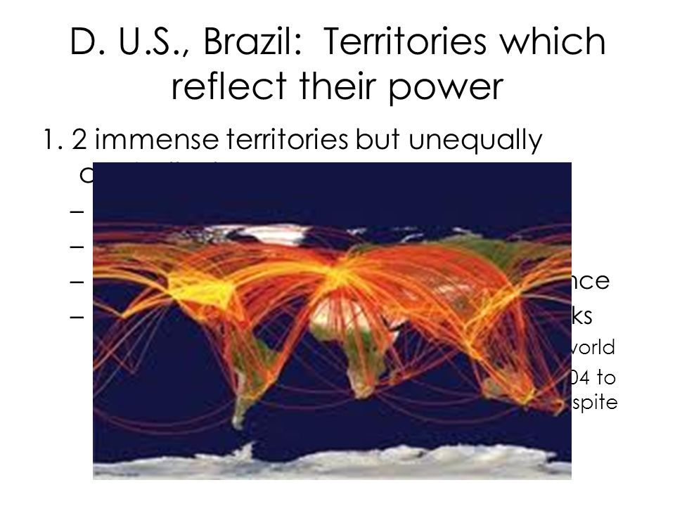 D. U.S., Brazil: Territories which reflect their power