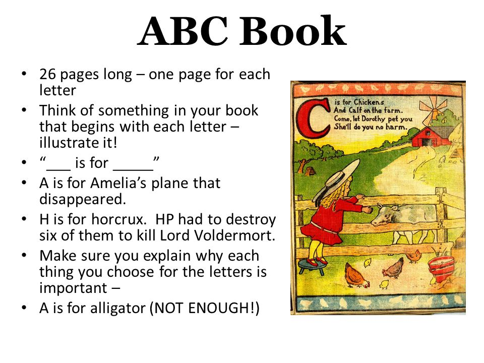ABC Book 26 pages long – one page for each letter