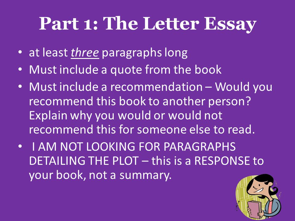 Part 1: The Letter Essay at least three paragraphs long
