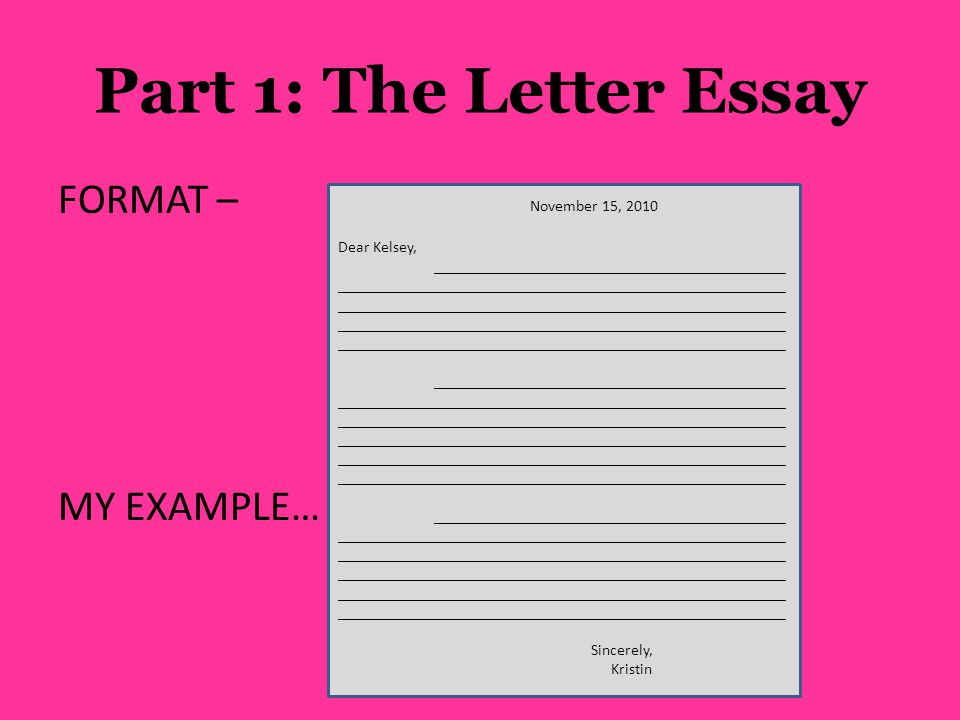 Part 1: The Letter Essay FORMAT – MY EXAMPLE… November 15, 2010