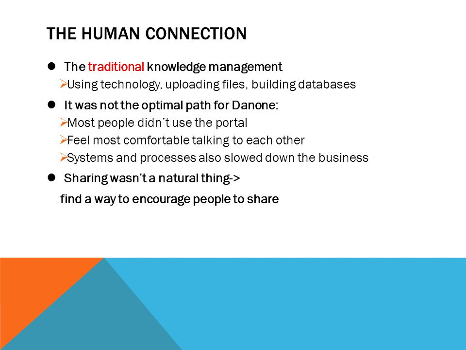 THE HUMAN CONNECTION The traditional knowledge management
