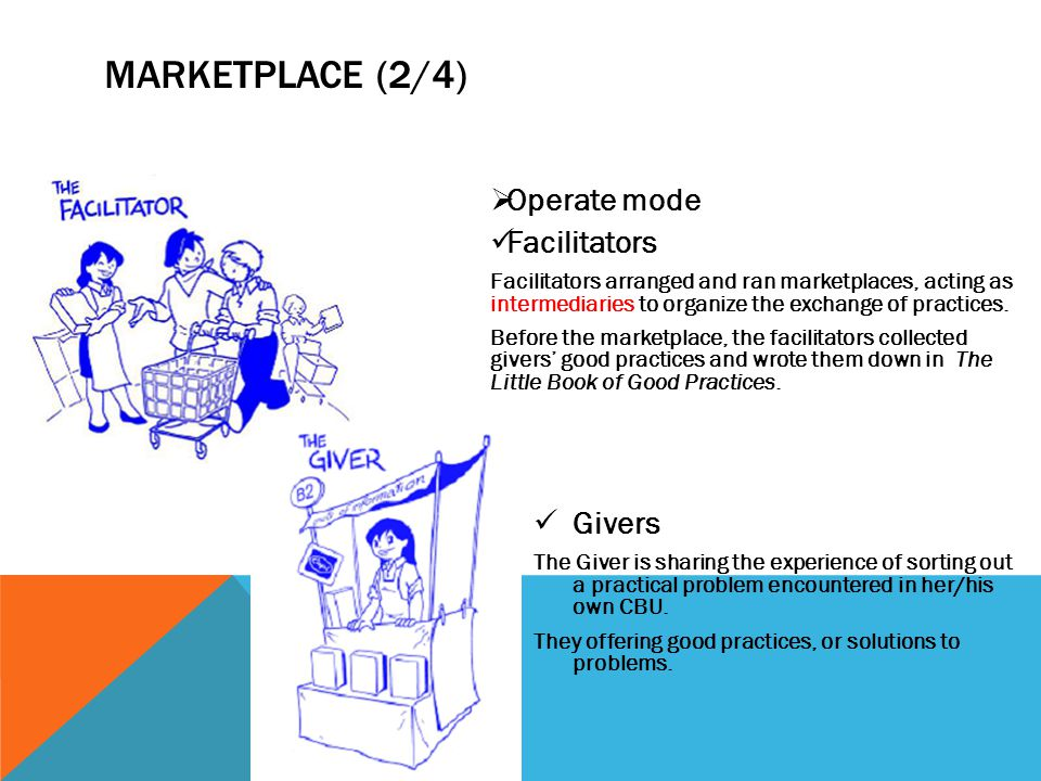 MARKETPLACE (2/4) Operate mode Facilitators Givers