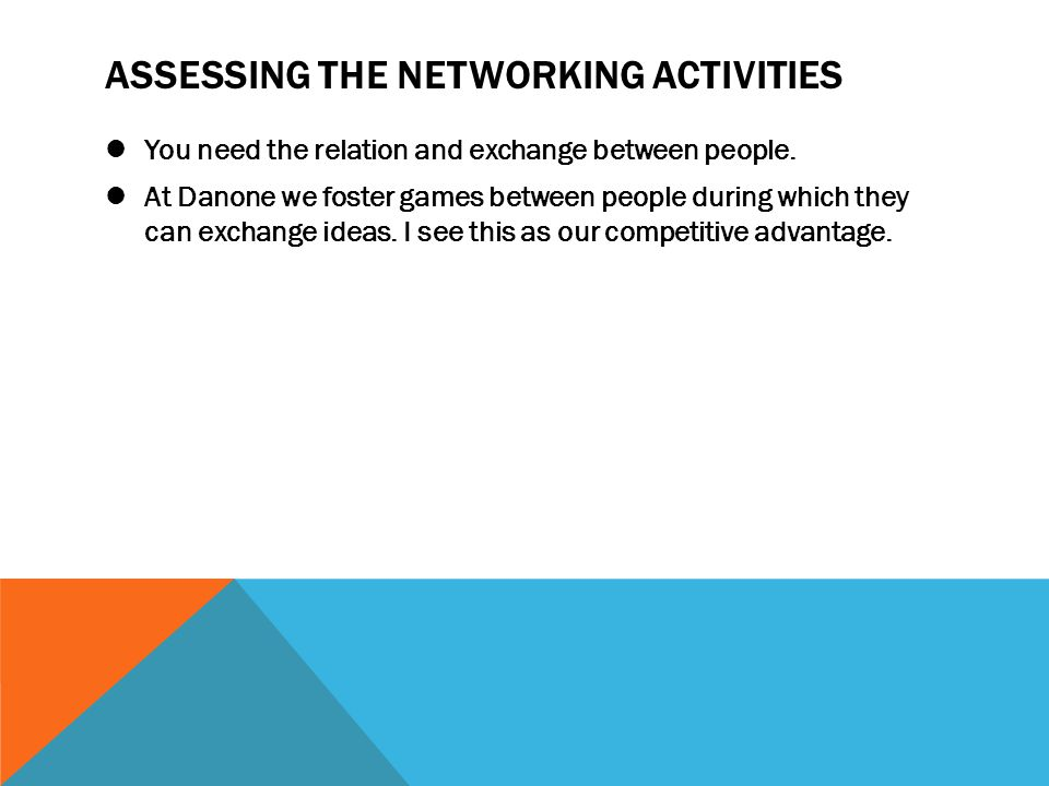 ASSESSING THE NETWORKING ACTIVITIES