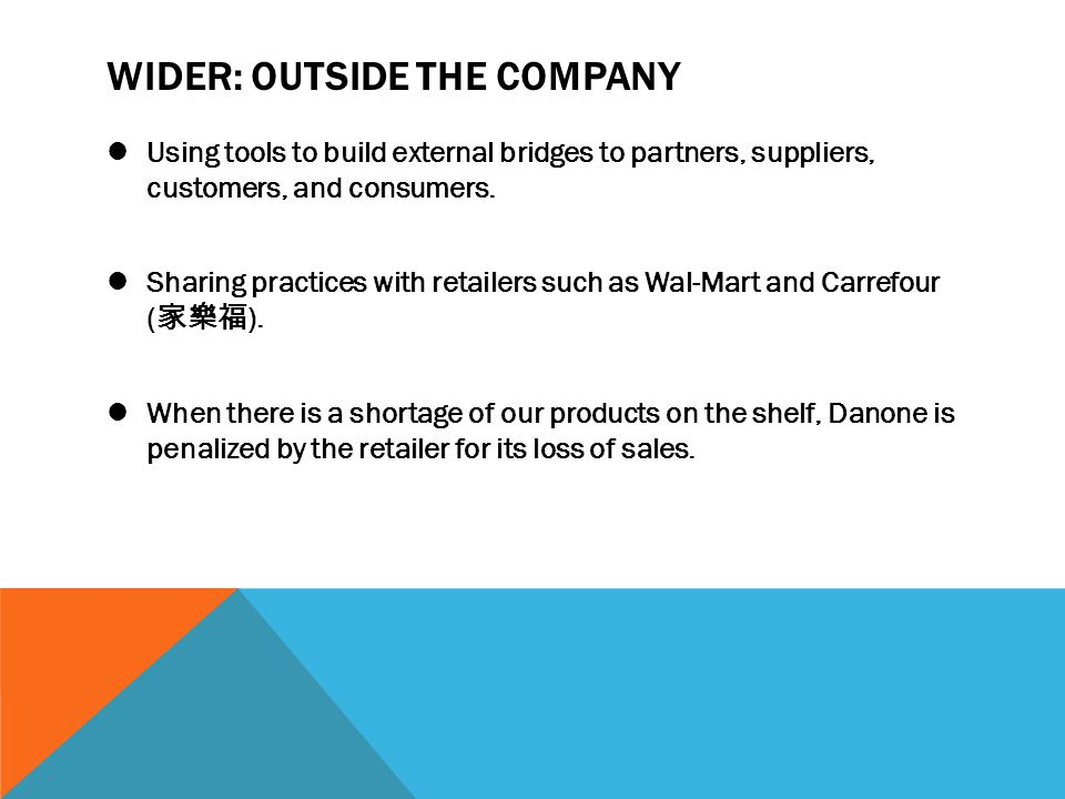 WIDER: OUTSIDE THE COMPANY