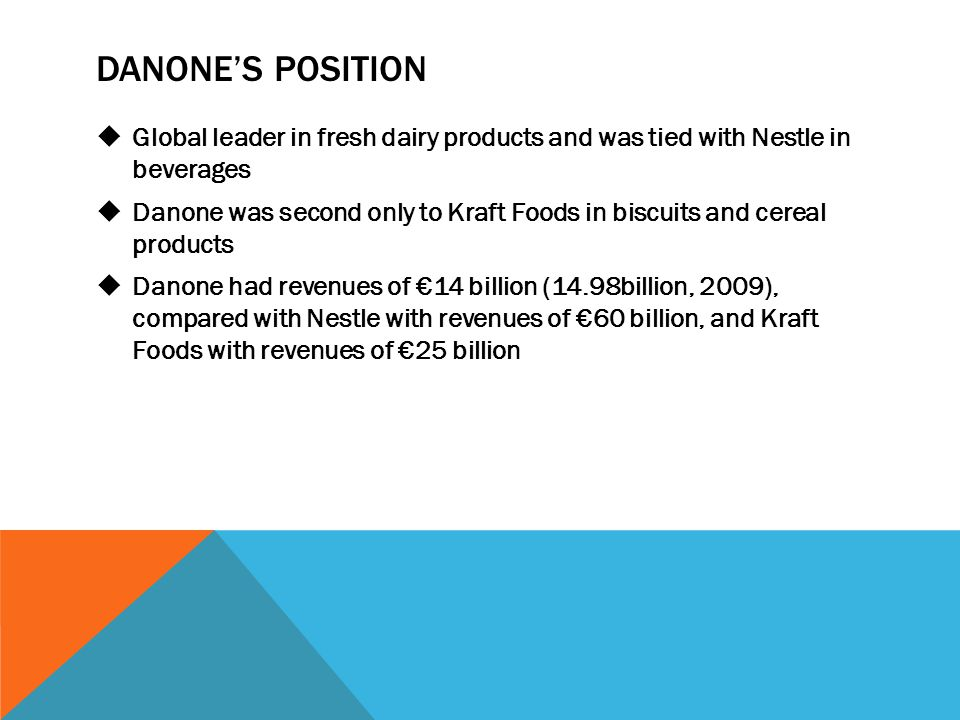 DANONE'S POSITION Global leader in fresh dairy products and was tied with Nestle in beverages.