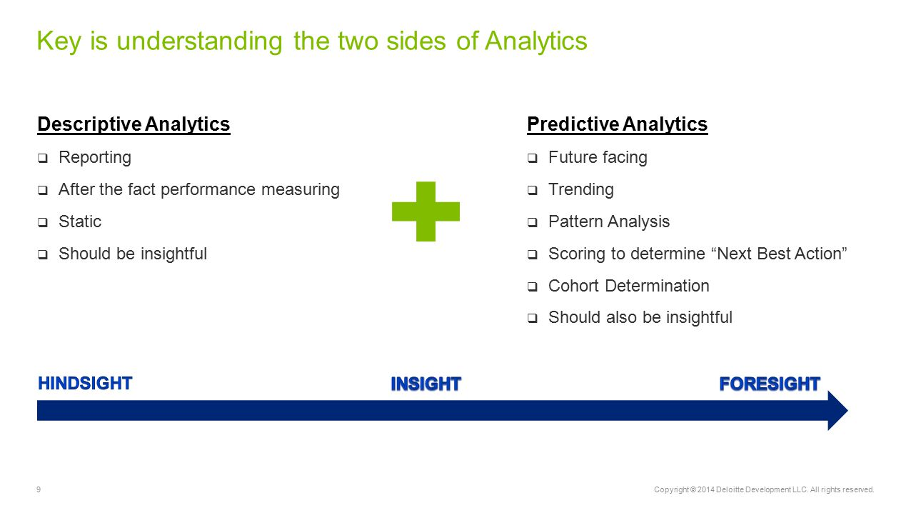 Key is understanding the two sides of Analytics