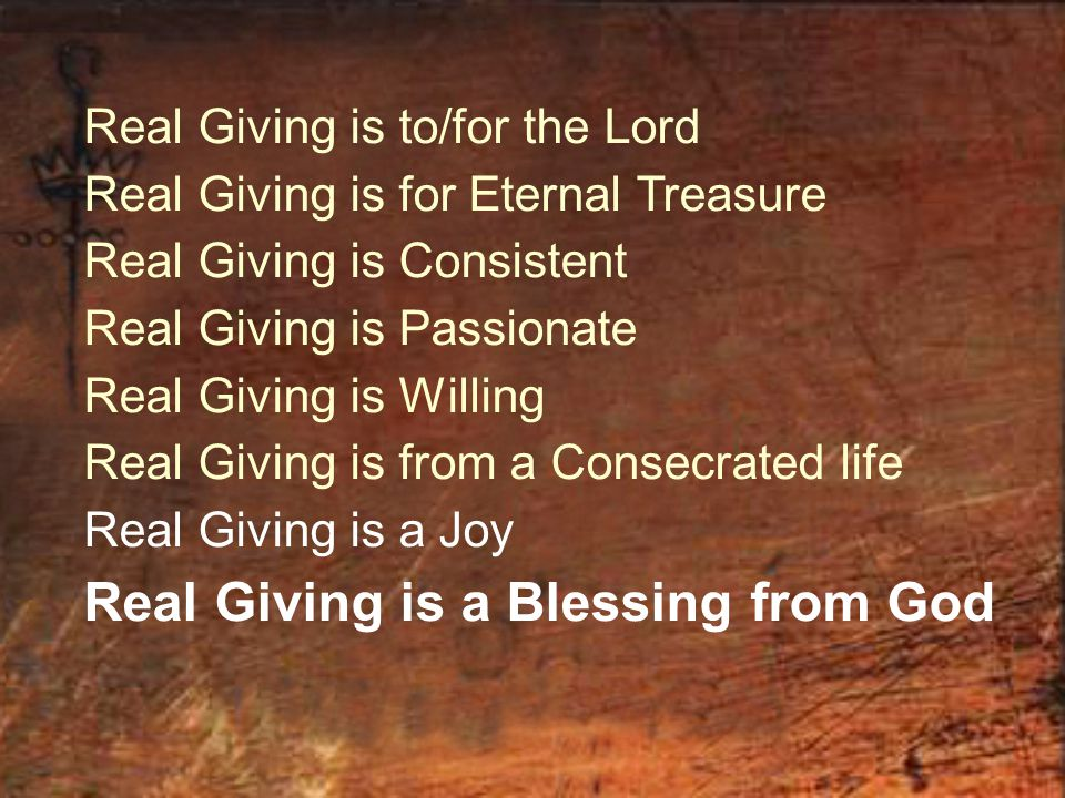 Real Giving is a Blessing from God