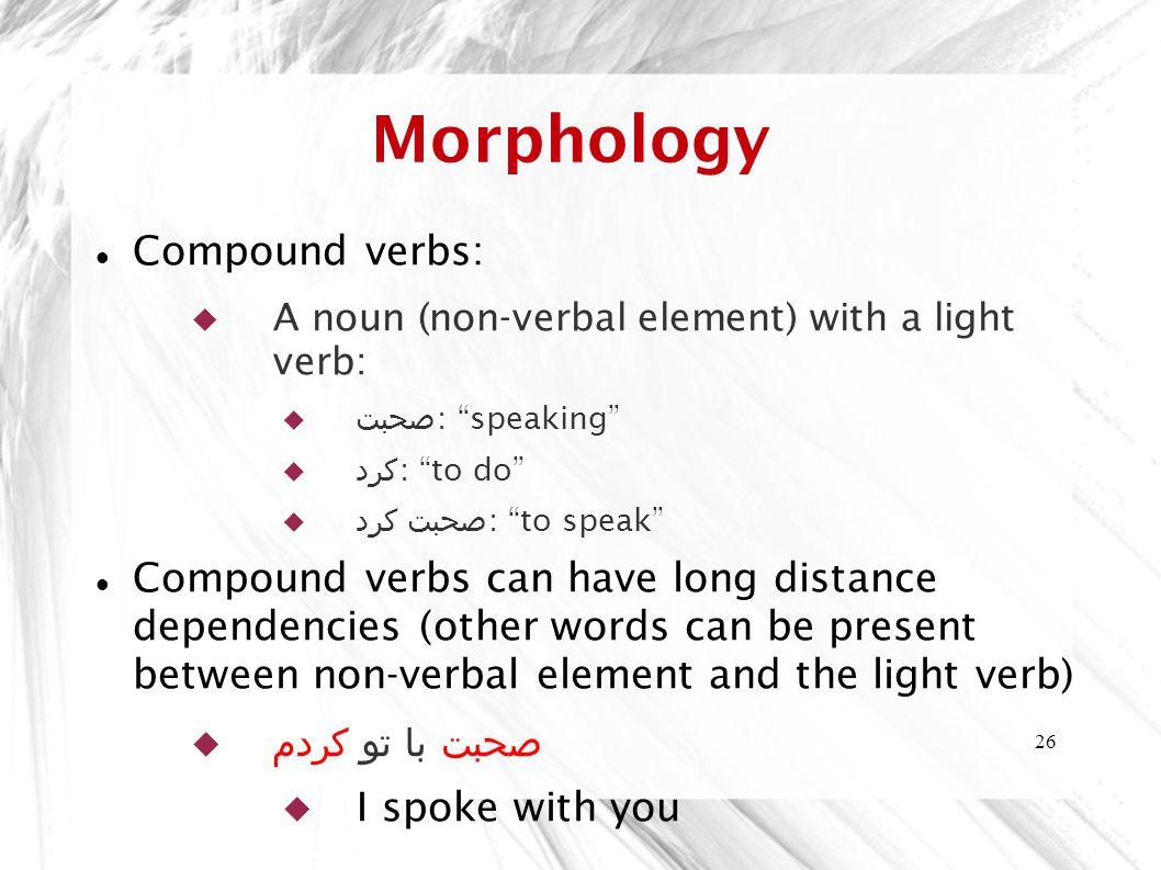 Morphology Compound verbs: