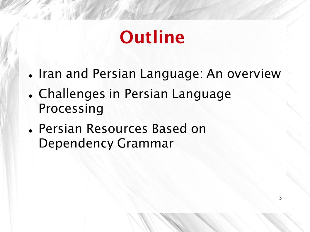 Outline Iran and Persian Language: An overview