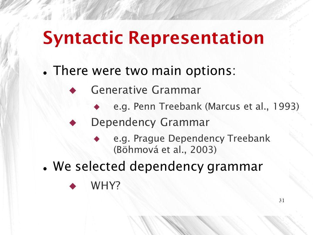 Syntactic Representation