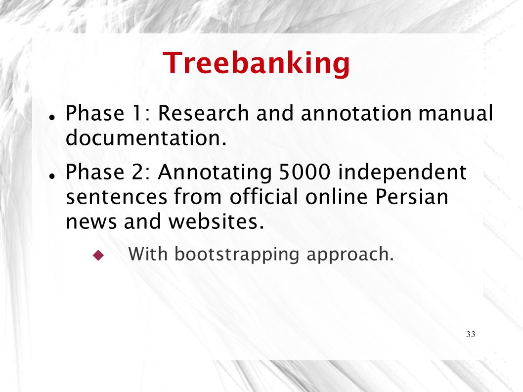 Treebanking Phase 1: Research and annotation manual documentation.
