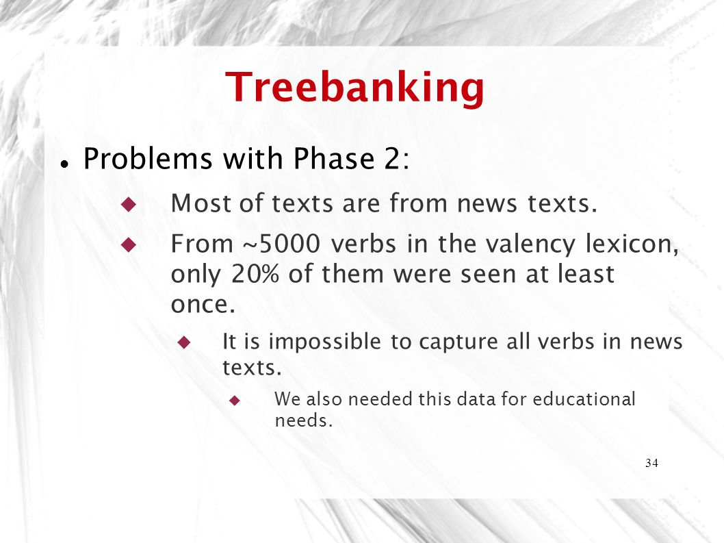 Treebanking Problems with Phase 2: Most of texts are from news texts.