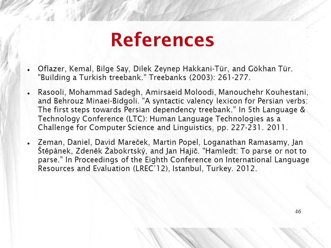 References Oflazer, Kemal, Bilge Say, Dilek Zeynep Hakkani-Tür, and Gökhan Tür. Building a Turkish treebank. Treebanks (2003): 261-277.