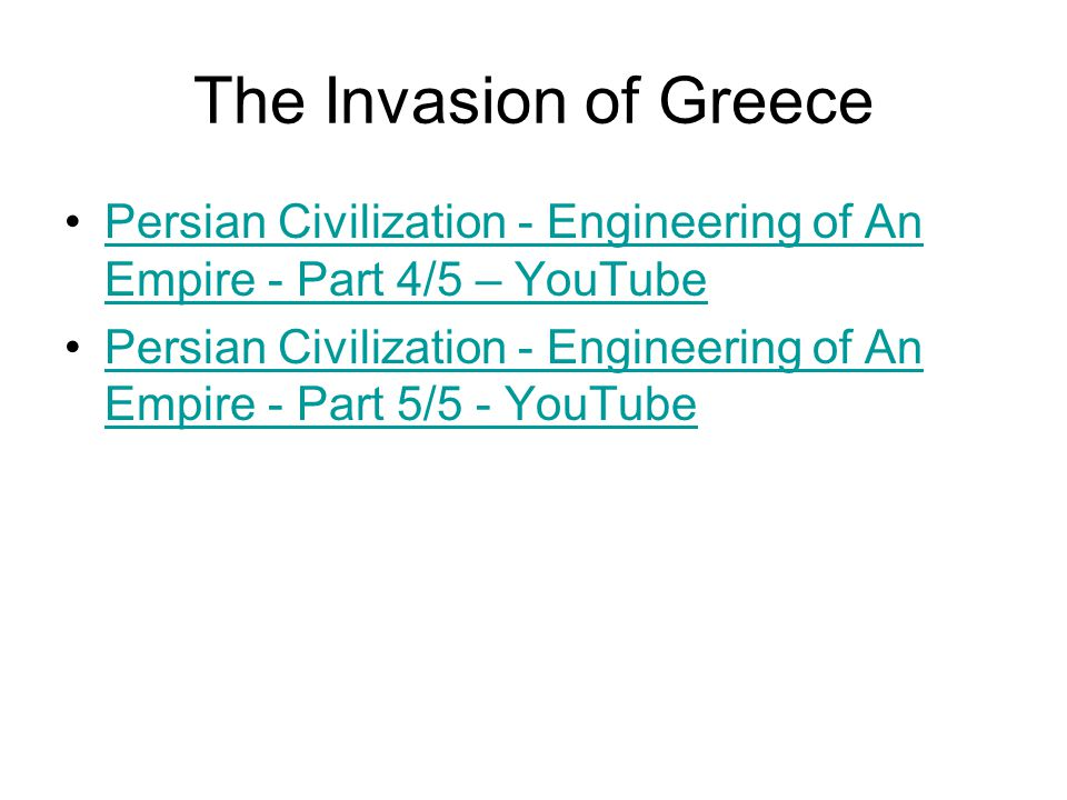 The Invasion of Greece Persian Civilization - Engineering of An Empire - Part 4/5 – YouTube.