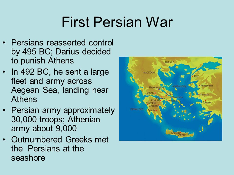 First Persian War Persians reasserted control by 495 BC; Darius decided to punish Athens.
