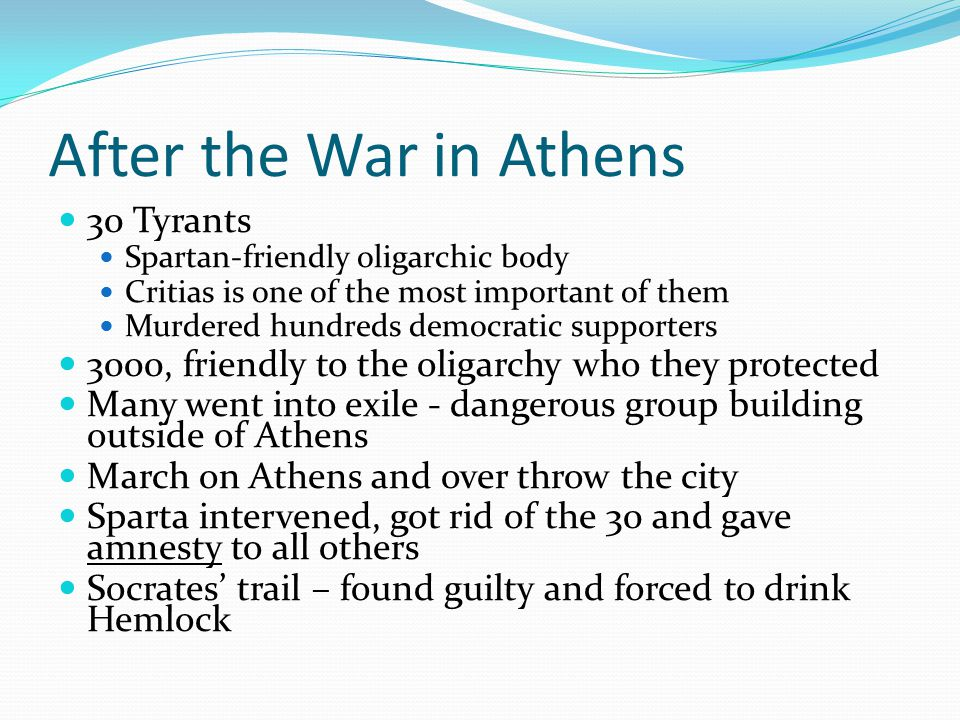 After the War in Athens 30 Tyrants