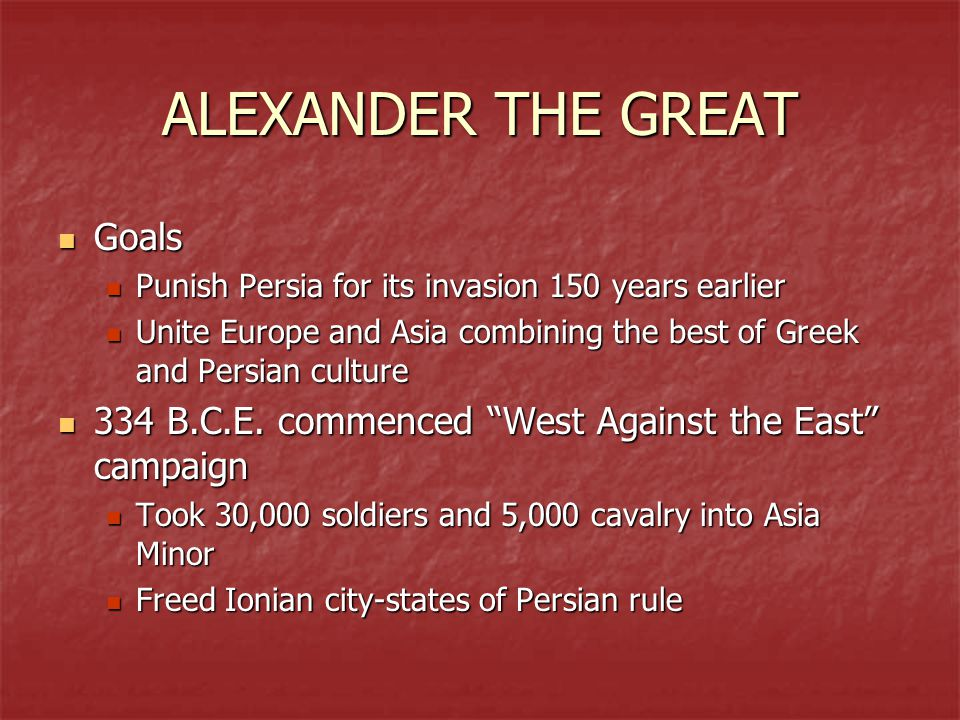 ALEXANDER THE GREAT Goals