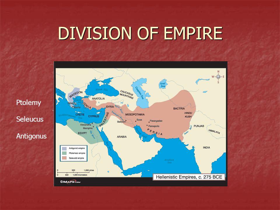 DIVISION OF EMPIRE Ptolemy Seleucus Antigonus