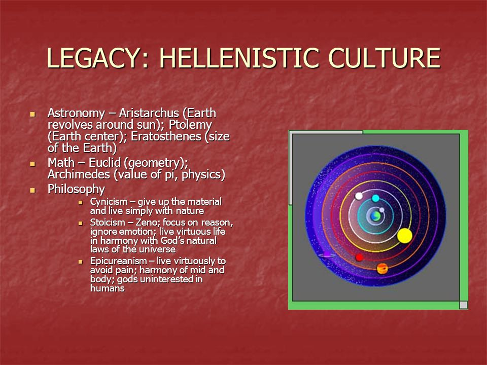 LEGACY: HELLENISTIC CULTURE