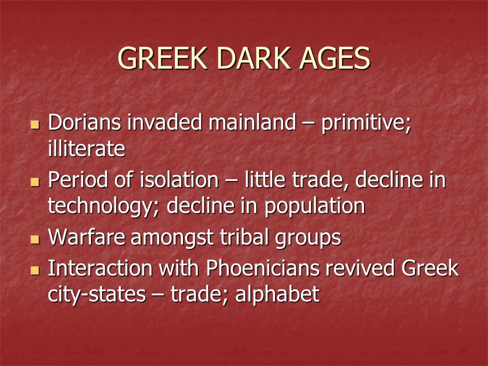 GREEK DARK AGES Dorians invaded mainland – primitive; illiterate