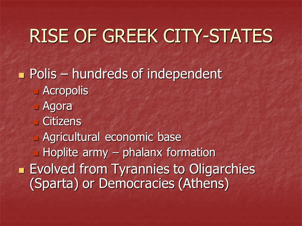 RISE OF GREEK CITY-STATES