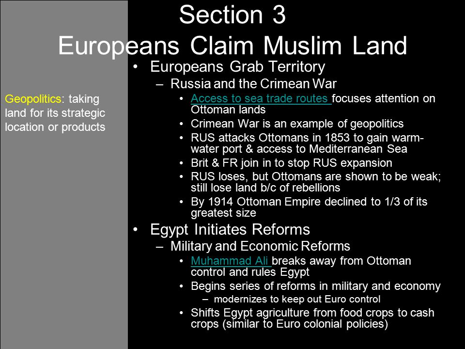 Section 3 Europeans Claim Muslim Land
