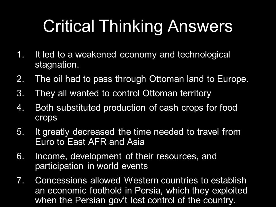 Critical Thinking Answers