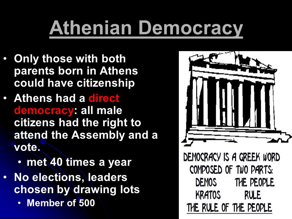 Athenian Democracy Only those with both parents born in Athens could have citizenship.